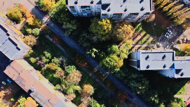 splendida vista sull'architettura sviluppo urbano della vista panoramica della città vecchia sul tetto uzhgorod ucraina europa - transcarpazia video stock e b–roll
