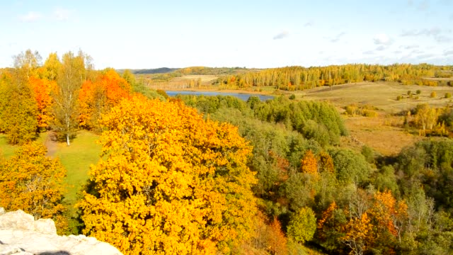 vacker utsikt över höstlandskapet med gula träd, kullar, sjö, ängar och hus, ryssland, pskov, izborsk - lucia bildbanksvideor och videomaterial från bakom kulisserna