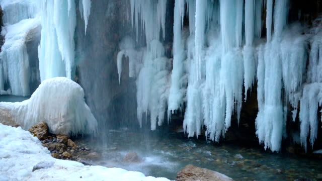 beautiful view of frozen waterfall with turquoise river, global warming concept video