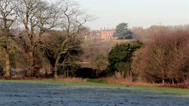 Beautiful View of Maple Hayes Stately Home Across Fields, Trees and Marshes / Marshlands - Historic English Country House Countryside heritage sites - Beautiful Morning Light video