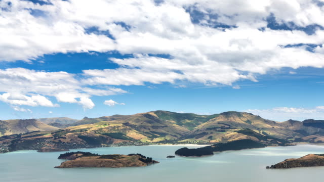 Beautiful view of New Zealand ocean coast in sunny summer nature Time lapse