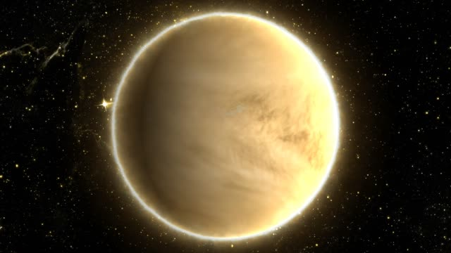 beautiful view of planet venus from space timelapse and stars - 4k seamless loop motion background animation - venus filmów i materiałów b-roll