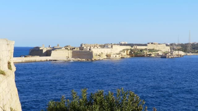 beautiful view of the island of Malta ancient buildings and blue sea video