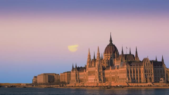 Beautiful view of the Parliament on the Danube in Budapest Hungary