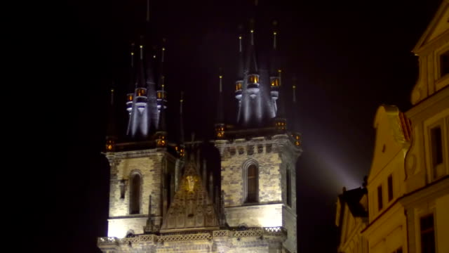 Beautiful view on the Church of Our Lady before Tyn in center of Prague, evening video