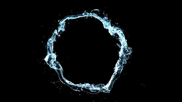 beautiful water stream in looped 3d animation with alpha matte. forming circle in slow motion. seamless - chlapać filmów i materiałów b-roll