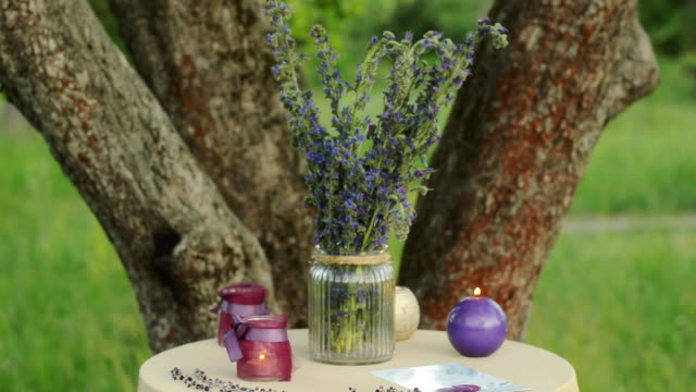 Beautiful wedding decorated table setted for two on nature in the garden. Wedding decoration in violet colors. Flowers, candles and wedding invations. video