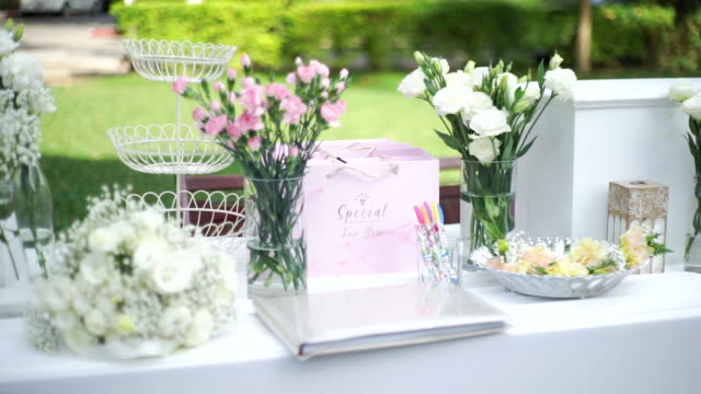Beautiful wedding decoration in the garden at sunny day.