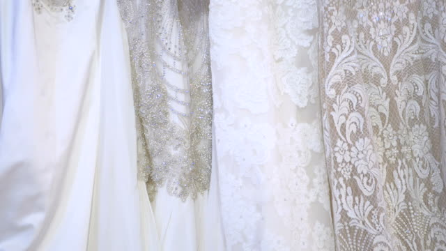 Beautiful wedding gownes in the wedding boutique video