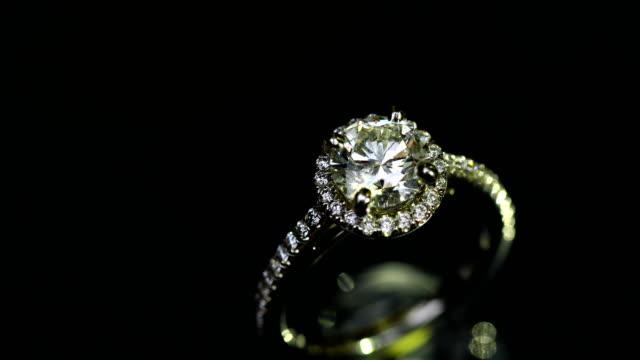 Beautiful wedding ring and engagement ring, 4K.