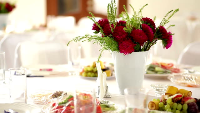beautiful wedding table in the restaurant video