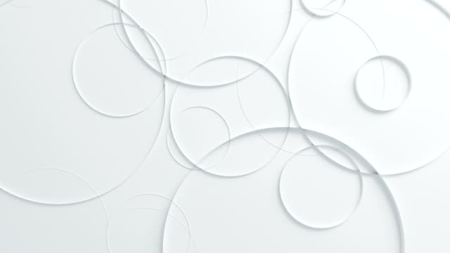 Beautiful White Circles on Surface Moving in Seamless 3d Animation. Abstract Motion Design Background. Computer Generated Process. 4k UHD 3840x2160.