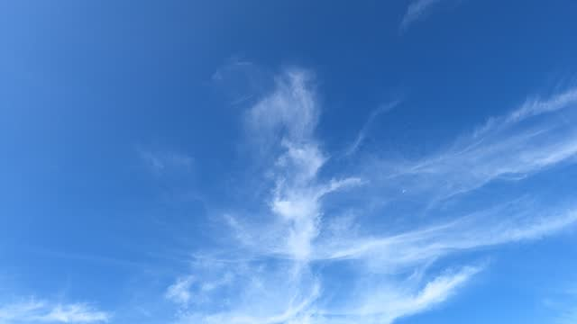 Beautiful white cirrus clouds changing to angle wing building motion on blue sky