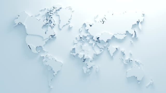 beautiful white global world map of surface morphing in seamless 3d animation. abstract motion design background. computer generated process. 4k uhd 3840x2160. - world map stock videos & royalty-free footage