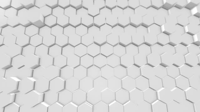Beautiful White Hexagons on Surface Morphing in Seamless 3d Animation. Abstract Motion 4K  Loopable