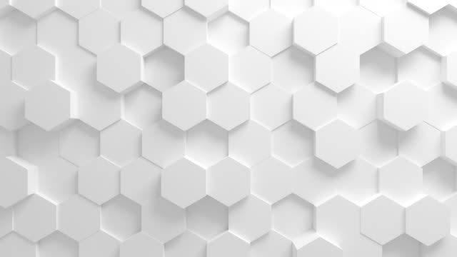 vídeos de stock e filmes b-roll de beautiful white hexagons on surface morphing in seamless 3d animation. abstract motion design background. computer generated process. 4k uhd 3840x2160. - design