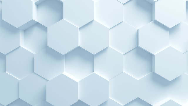 vídeos de stock e filmes b-roll de beautiful white hexagons on surface moving in seamless 3d animation. abstract motion design background. computer generated process. 4k ultra hd 3840x2160. - honeycomb