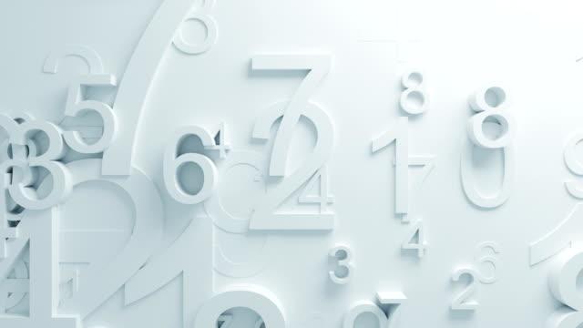 vidéos et rushes de belles numéros blancs sur la surface se déplaçant dans une boucle animation 3d. abstract motion design fond. processus généré par ordinateur. 4k uhd 3840 x 2160. - nombre