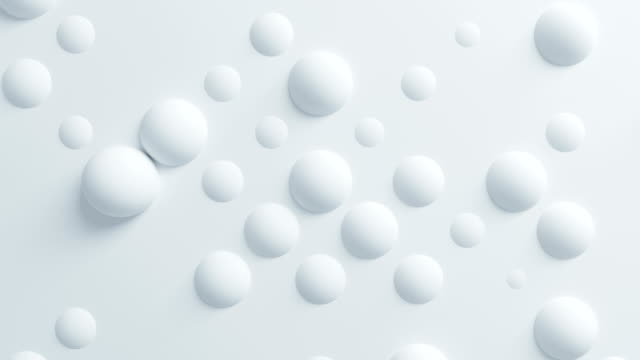 beautiful white spheres on surface morphing in seamless 3d animation. abstract motion design background. computer generated process. 4k ultra hd 3840x2160. - tridimensionale video stock e b–roll