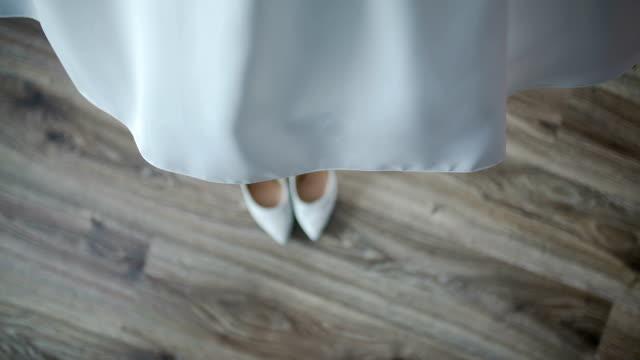 Beautiful white wedding dress detail. video