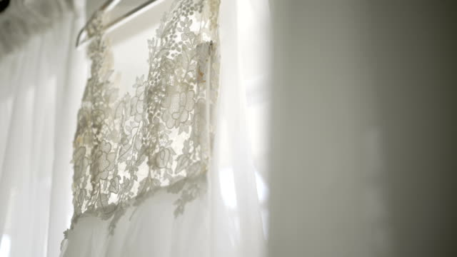 beautiful white wedding dress detail. - wedding fashion stock videos and b-roll footage