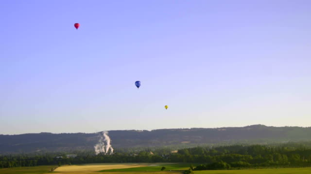 Beautiful wide shot of hot air balloons video