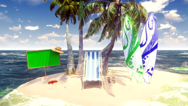 Beautiful wild island, beach and palm trees, white sand and blue sky, beach chair, surfboards and wooden banner with green screen. Amazing summer travel, looped background. Beautiful wild island, beach and palm trees, white sand and blue sky, beach chair, surfboards and wooden banner with green screen. Amazing summer travel, looped background. Produced in 4K. alpha channel stock videos & royalty-free footage