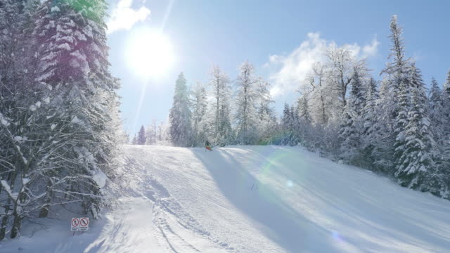 A beautiful winter scene with a skier skiing downhill video