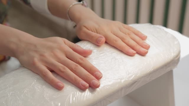 beautiful woman hands in front of manicure - comparsa video stock e b–roll