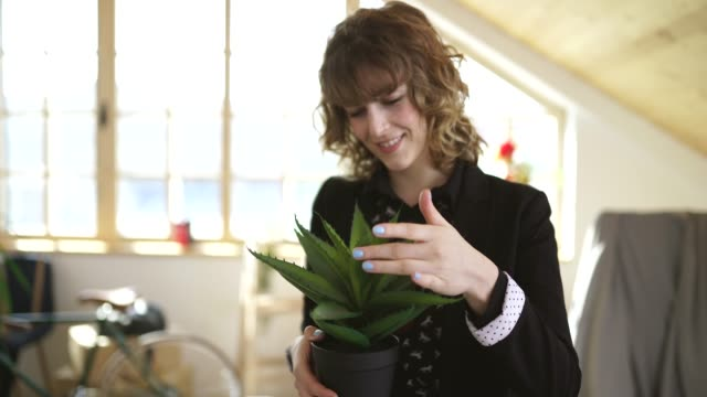 beautiful woman holding an aloe vera plant - aloe vera стоковые видео и кадры b-roll