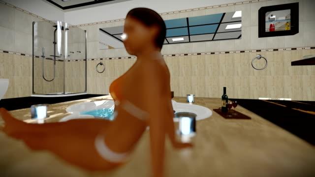 Schöne Frau innen modernes Bad mit Jacuzzi und Wein, Reisen, Kamera – Video