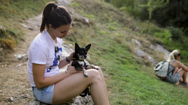 Beautiful woman plays with her little dog in nature