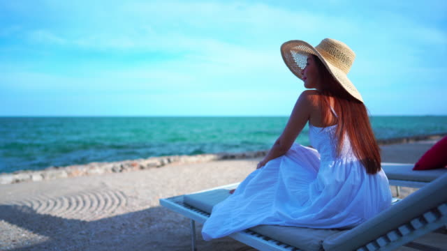 Beautiful woman relax around sea beach ocean for leisure travel and vacation