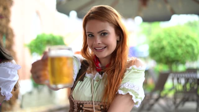 Beautiful Woman Showing Beer video