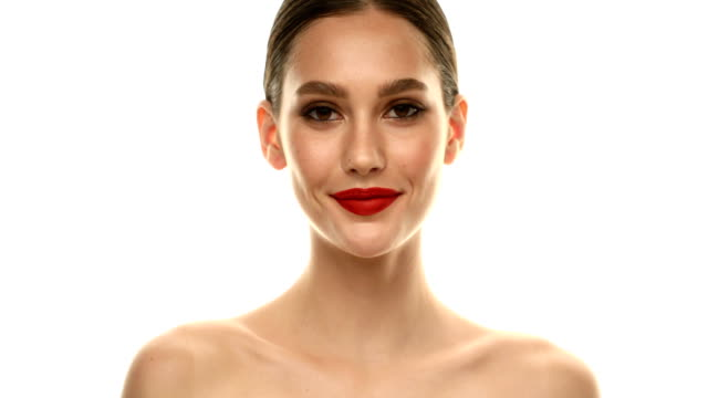 Beautiful woman Beautiful woman red lipstick stock videos & royalty-free footage