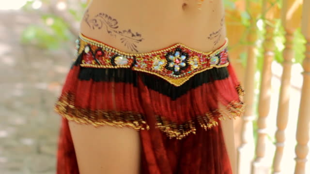 beautiful woman with mehendi actively moving body - belly dancing stock videos and b-roll footage