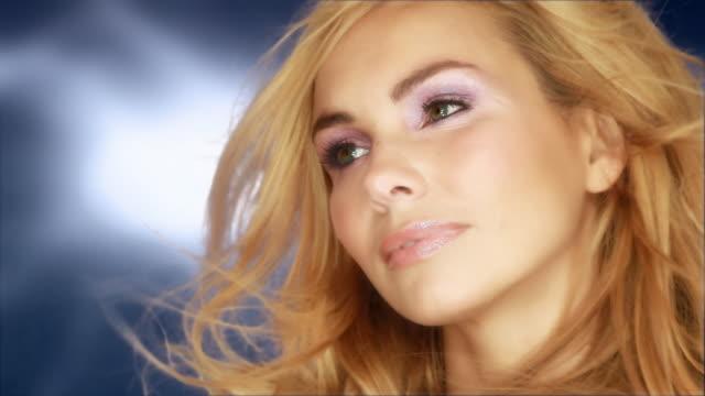 Beautiful woman with nice rose makeup video