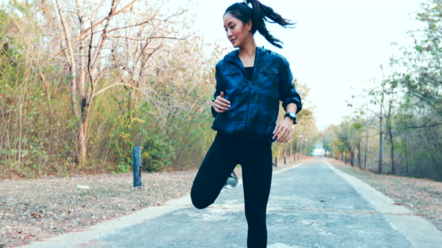 Beautiful Women a Body Warming another jogging, slow motion video