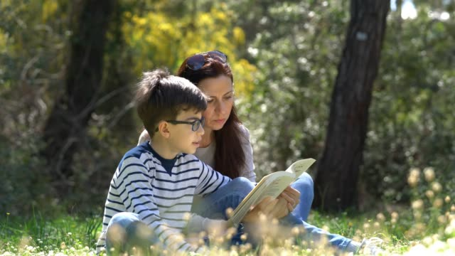 Beautiful women and her son sitting in forest and reading book