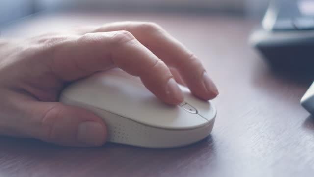 schöne frauen benutzen den schreibtisch auf dem zimmer. computermaus. hand mit computermaus. hand des mannes klicken und surfen im internet mit computer-maus. - computermaus stock-videos und b-roll-filmmaterial