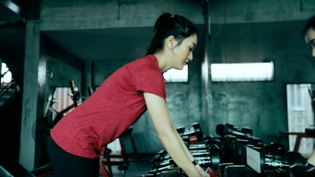 Beautiful women for exercising in the gym, slow motion video