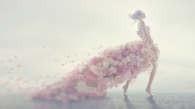 beautiful women in flower dress - wedding fashion stock videos and b-roll footage