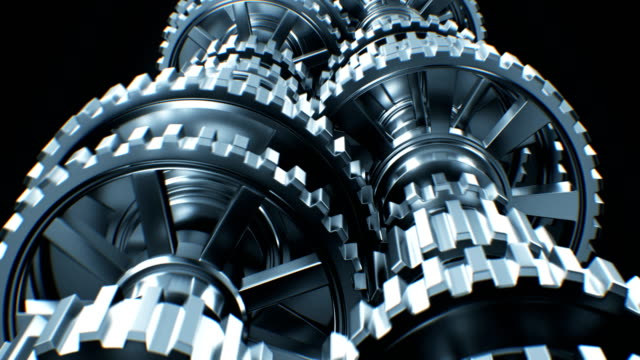 Video Beautiful Working Abstract Isolated Gearbox Seamless. Looped 3d Animation Alpha Matte. Abstract Working Process. Teamwork Business and Technology Concept.