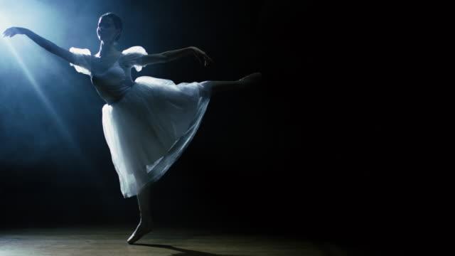 美しい若いバレリーナは、彼女の周りの闇、スポットライトで優雅に踊ります。彼女は光の中で輝く白いチュチュドレスを着ています。スローモーションで。 - バレエ点の映像素材/bロール
