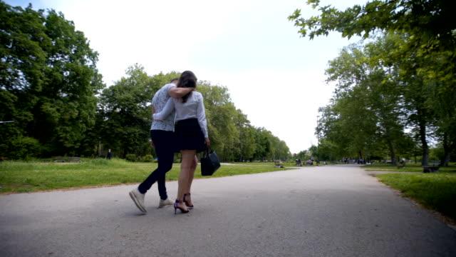 Beautiful young couple walking video