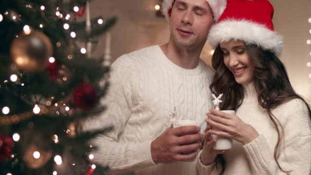 beautiful young people talking and drinking hot drinks on christmas eve at home admiring the christmas tree. - treedeo christmas stock videos & royalty-free footage