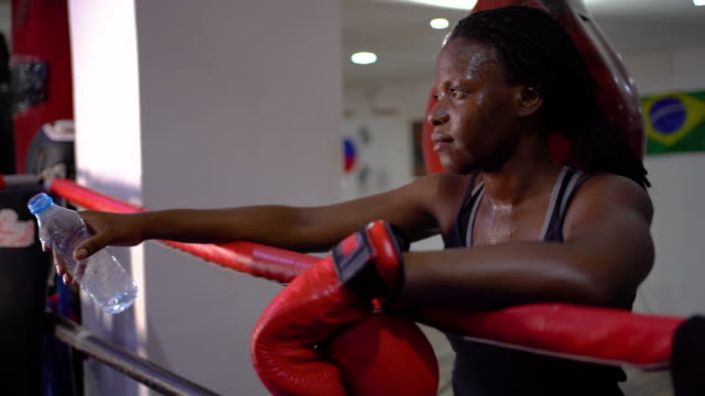 Beautiful Young Woman After Boxing Workout
