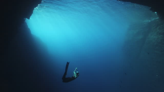 Beautiful young woman diving into blue 4k video