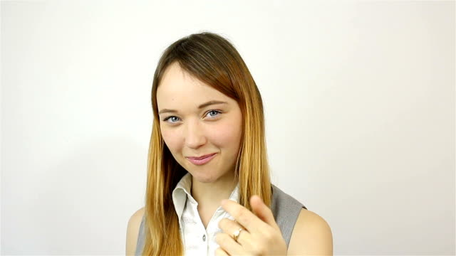 beautiful young woman invites to join the project - temptation stock videos & royalty-free footage