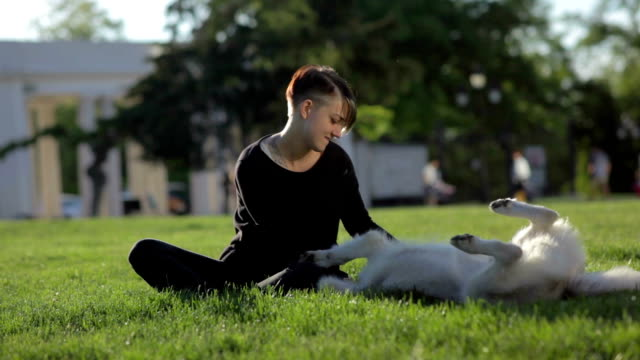 Beautiful young woman playing with funny husky dog outdoors in park video